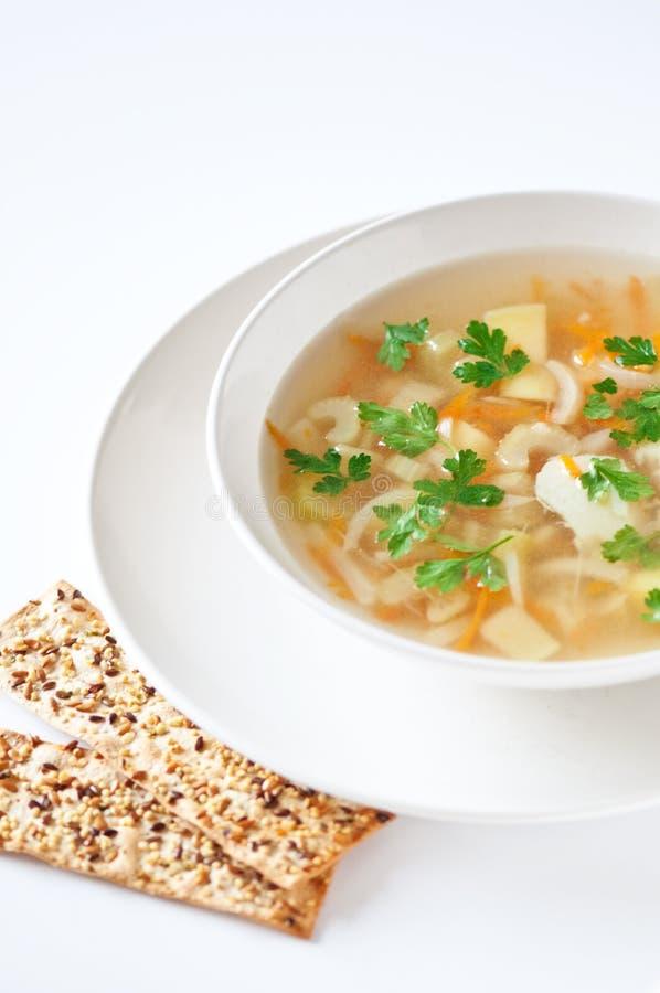 Download Sopa Dos Peixes Com Biscoitos Foto de Stock - Imagem de branco, biscoito: 16872372