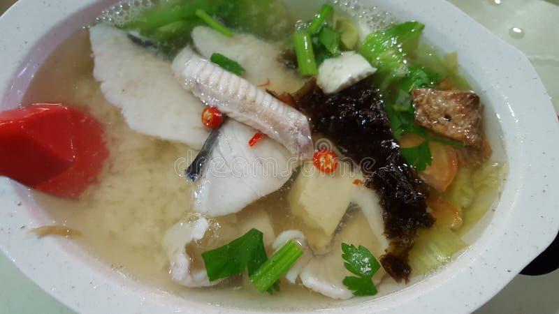 Sopa dos peixes de Teochew com arroz fotografia de stock royalty free
