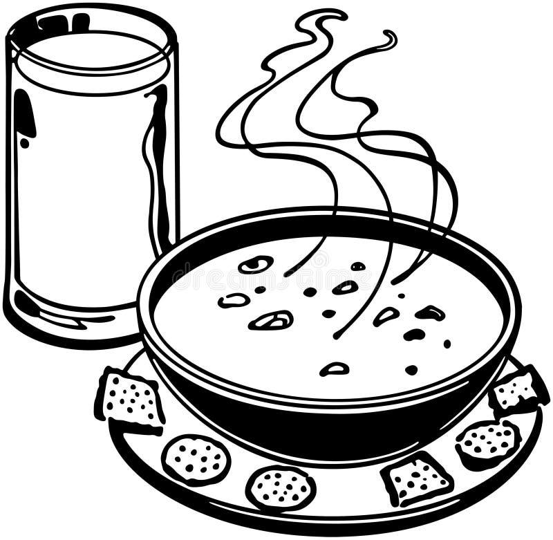 Sopa e biscoitos ilustração royalty free