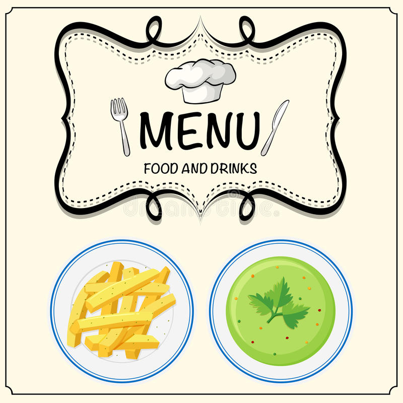 Sopa e frenchfries no menu ilustração royalty free