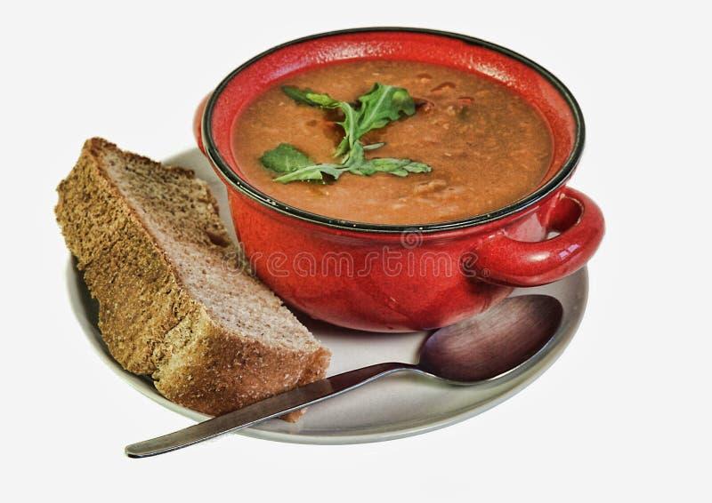 Sopa e pão fotografia de stock