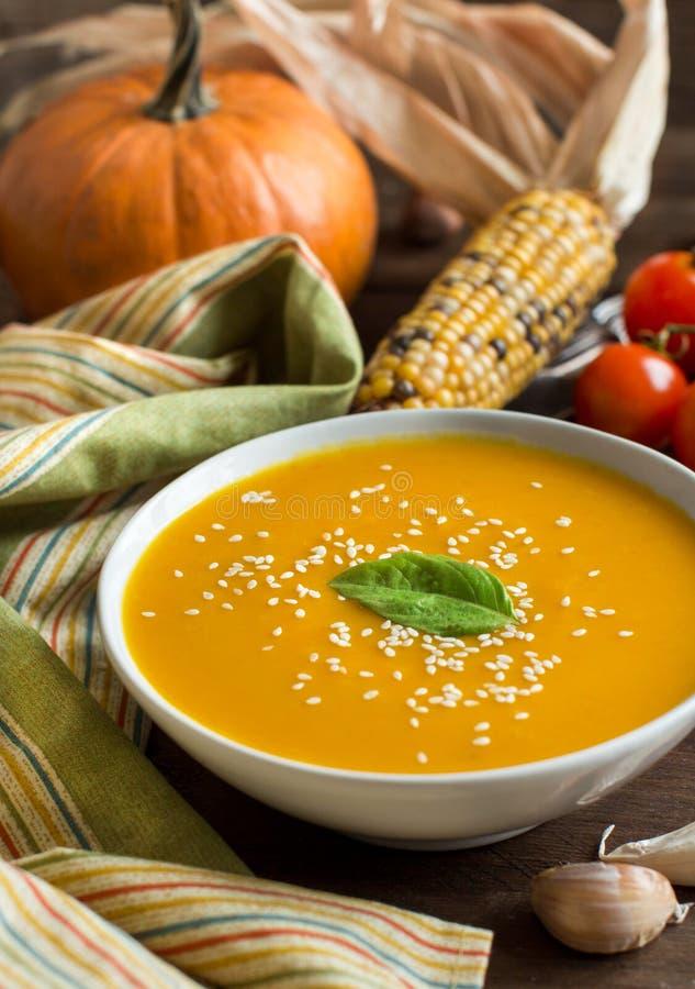 Sopa e vegetais frescos da abóbora foto de stock