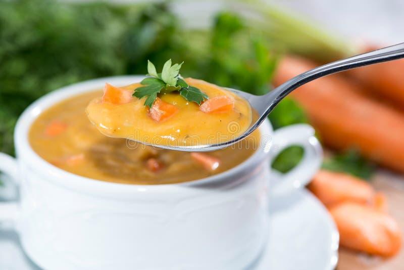 Sopa feita fresca da cenoura foto de stock