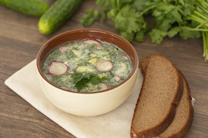 Sopa fría del yogur del verano con el rábano, el pepino, y el eneldo en la tabla de madera Sopa de verduras fría rusa en el yogur foto de archivo libre de regalías