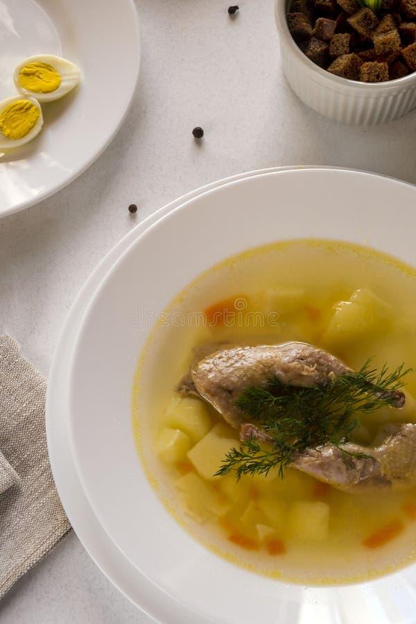Sopa fragante deliciosa basada en el caldo de las codornices en una placa de cena blanca Rebanadas de carne, de huevo de codornic foto de archivo