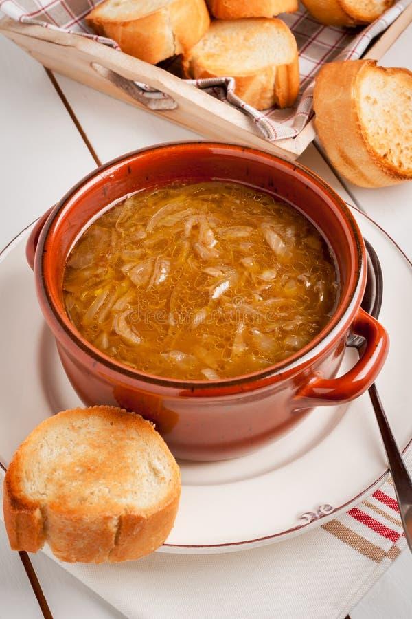 Sopa francesa de la cebolla fotografía de archivo