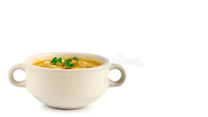 Sopa fresca aislada en un fondo blanco, comida sana de la calabaza de la vitamina copie el espacio, plantilla foto de archivo