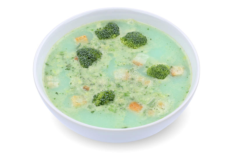 Sopa fresca del bróculi en el cuenco aislado foto de archivo