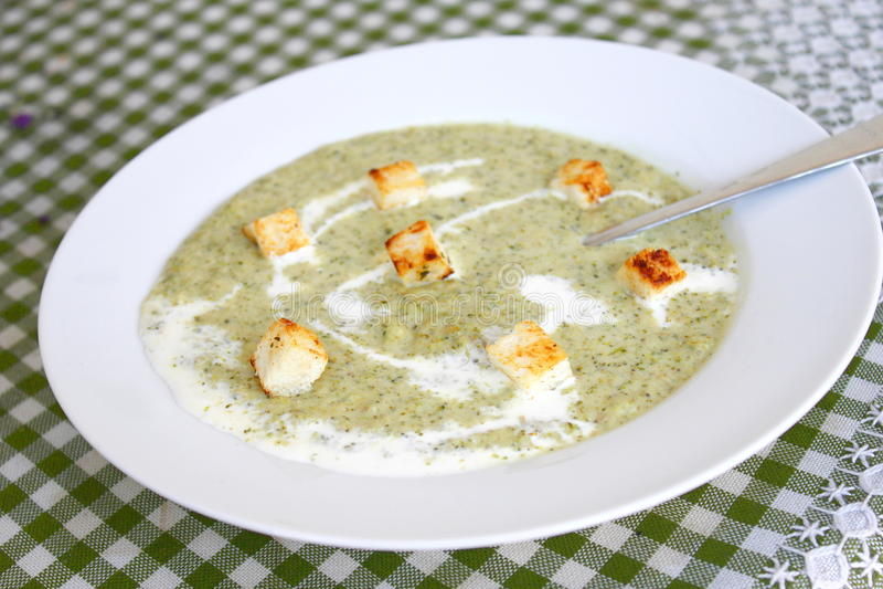 Sopa fresca del calabacín imagenes de archivo