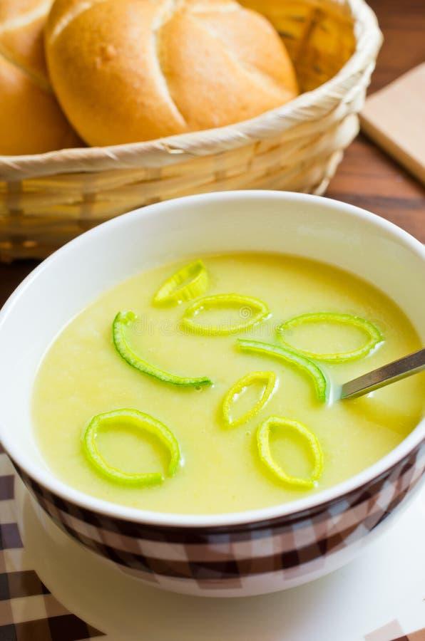 Sopa fresca del puerro foto de archivo libre de regalías