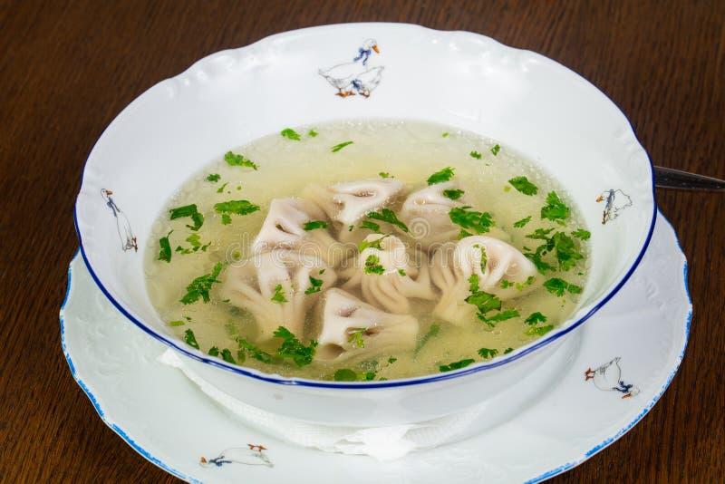 Sopa georgiana del khinkali imagen de archivo