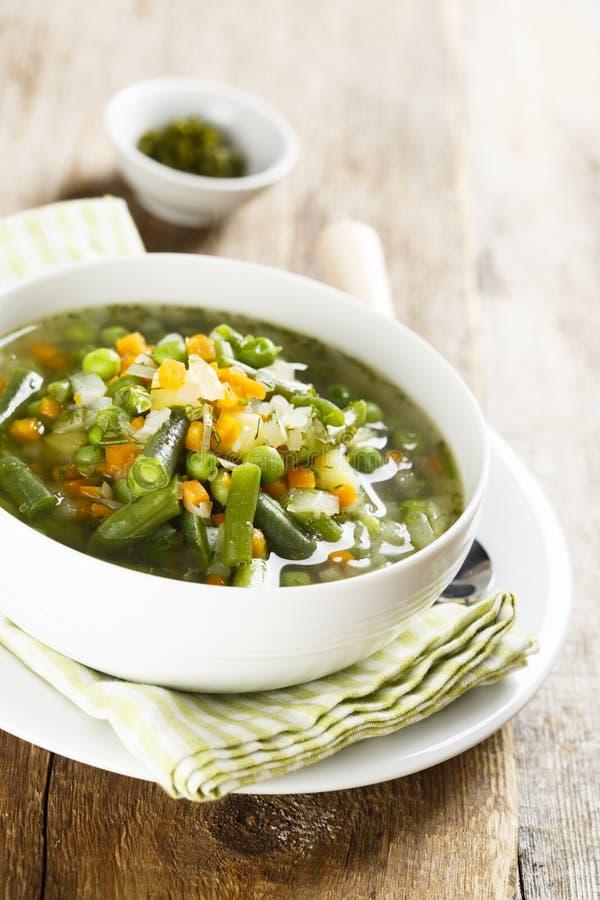 Sopa hecha en casa con las verduras frescas de la primavera fotos de archivo libres de regalías