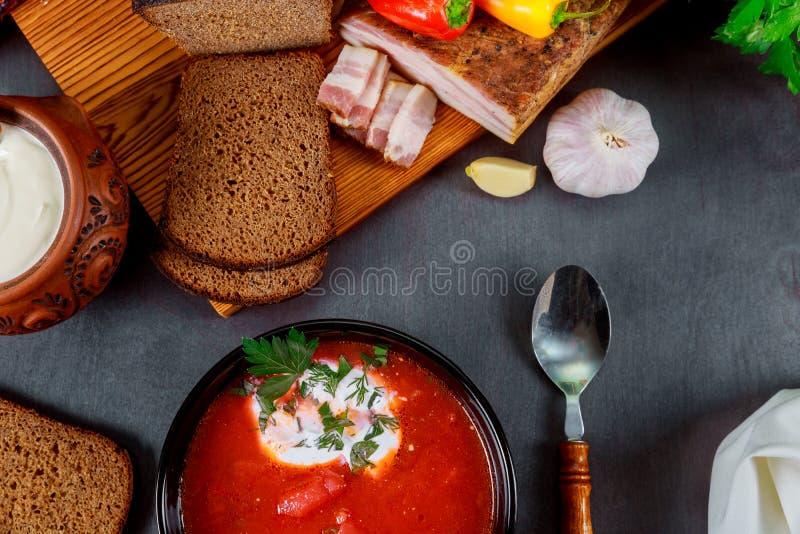 Sopa nacional ucraniana caseiro - borscht vermelho feito do beetrot, dos vegetais e da carne com pão de mistura, alho, pimenta fotos de stock