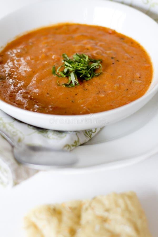 Sopa da manjericão do tomate fotografia de stock