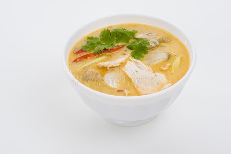 Sopa picante de la crema del coco imagenes de archivo