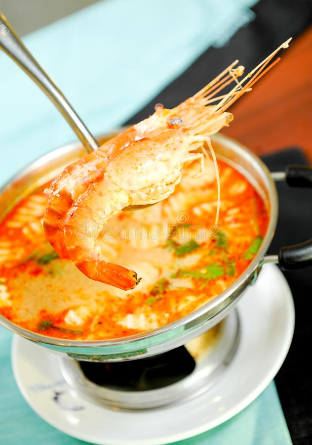 Sopa picante do camarão fotografia de stock