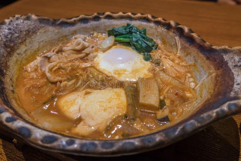 Sopa picante do Tofu de Kimchi fotos de stock royalty free