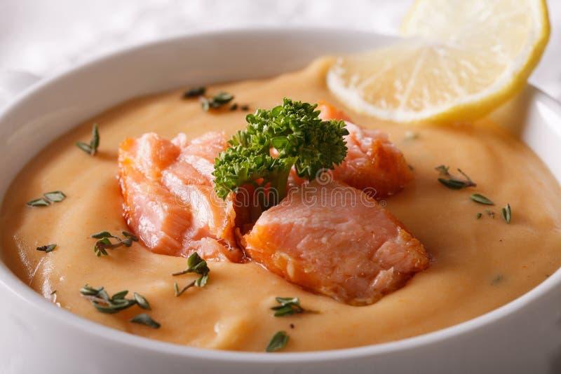 Sopa poner crema de color salmón con el limón y las hierbas en una macro del cuenco horizont foto de archivo libre de regalías