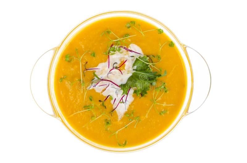 Sopa poner crema vegetal con los brotes verdes jovenes aislados en el fondo blanco foto de archivo libre de regalías