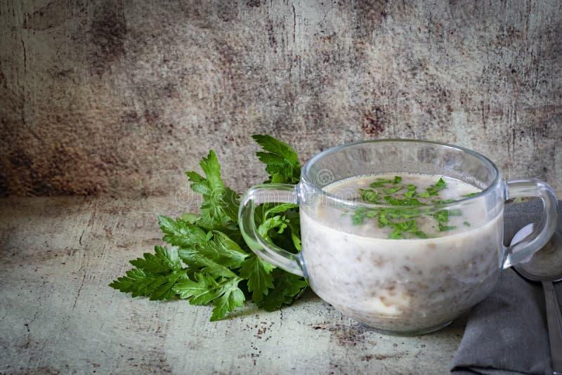 Sopa quente com cogumelos em uma placa de vidro com os ramos de verdes frescos em uma tabela cinzenta imagens de stock royalty free