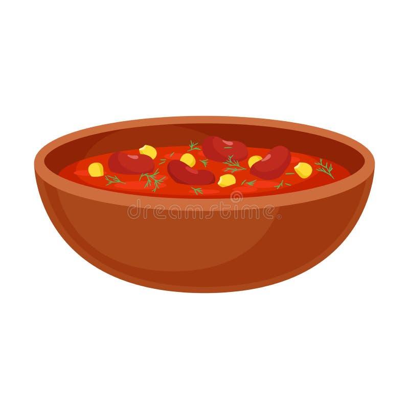 Sopa roja con las habas Ilustraci?n del vector en el fondo blanco libre illustration