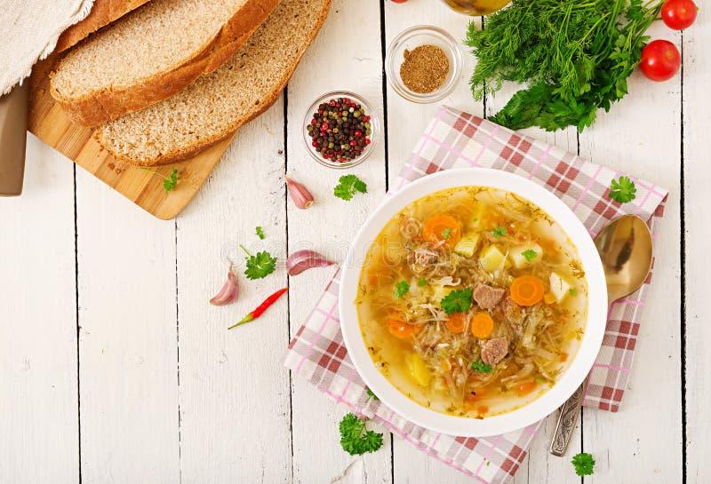 Sopa rusa tradicional con la col - sopa de la chucrut foto de archivo libre de regalías