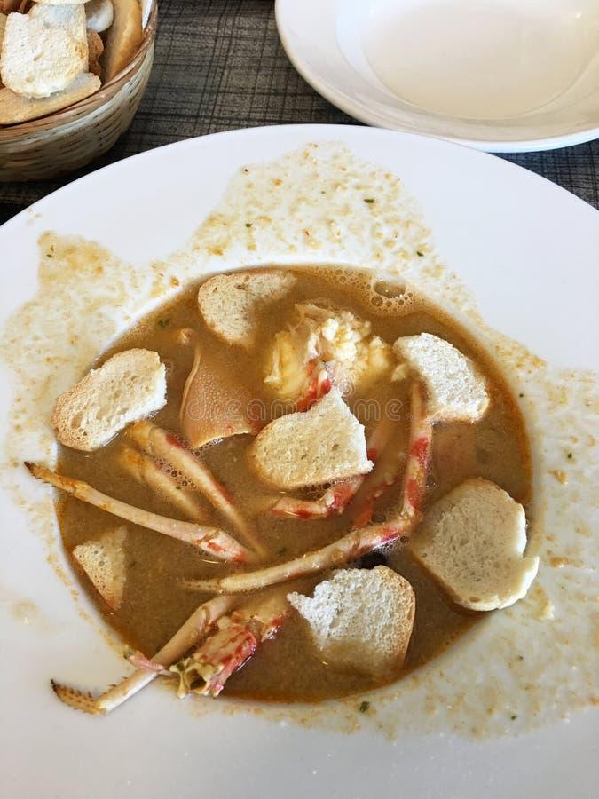 Sopa saboroso de Caldereta com marisco fotografia de stock