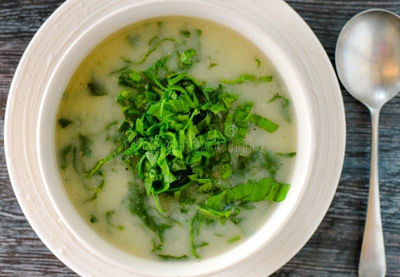 Sopa sem glúten do alho-porro da batata do vegetariano fotografia de stock