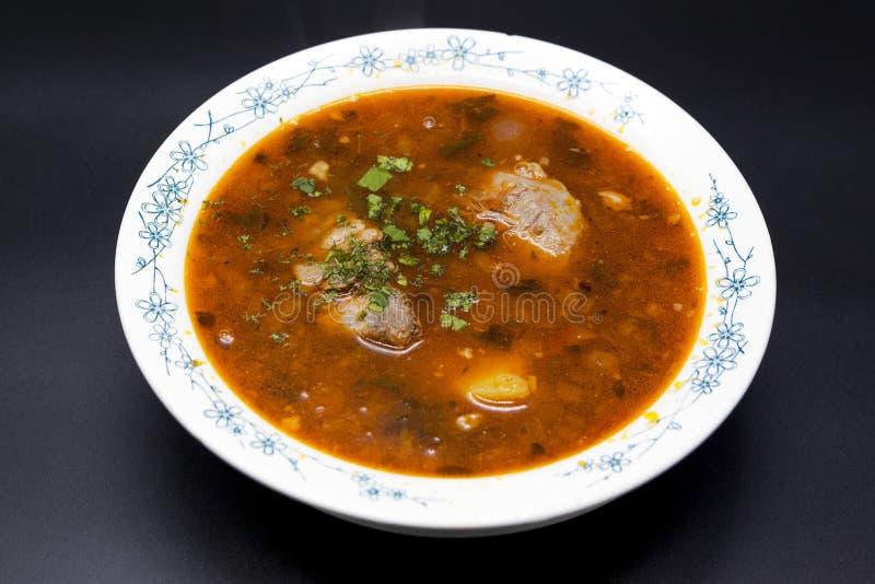 Sopa Shurpa Carne de vaca de la sopa de la carne con pimienta y el tomate Platos tradicionales del Oriente Medio, Asia foto de archivo libre de regalías