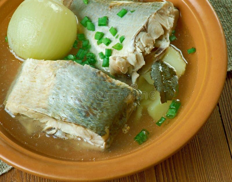 Sopa siberiana de los pescados del omul fotografía de archivo