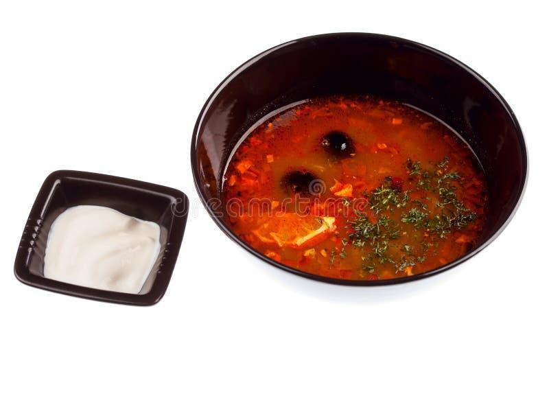 Sopa - Solyanka. imágenes de archivo libres de regalías