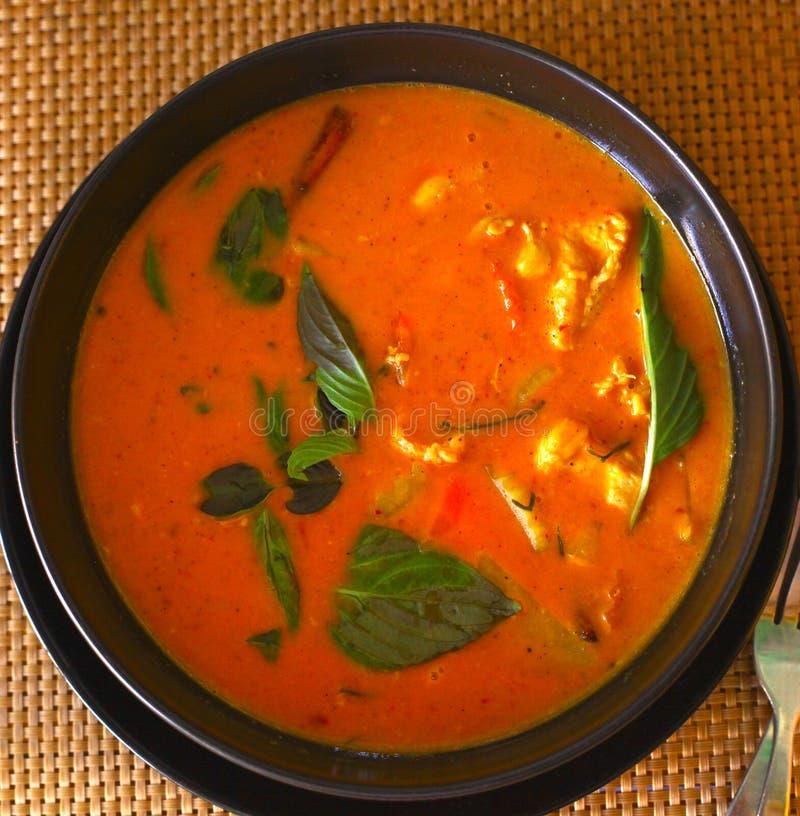 Sopa tailandesa asiática do caril vermelho com galinha imagem de stock