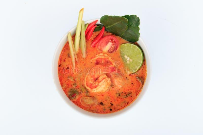 Sopa tailandesa do camarão com nardo (Tom Yum Goong) no fundo branco fotografia de stock royalty free