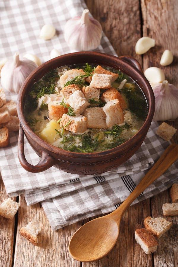 Sopa tradicional con ajo y el primer de los cuscurrones vertical fotos de archivo