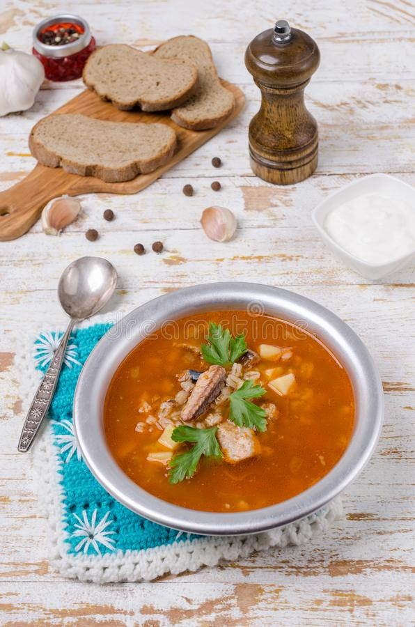 Sopa tradicional dos peixes do tomate imagem de stock royalty free
