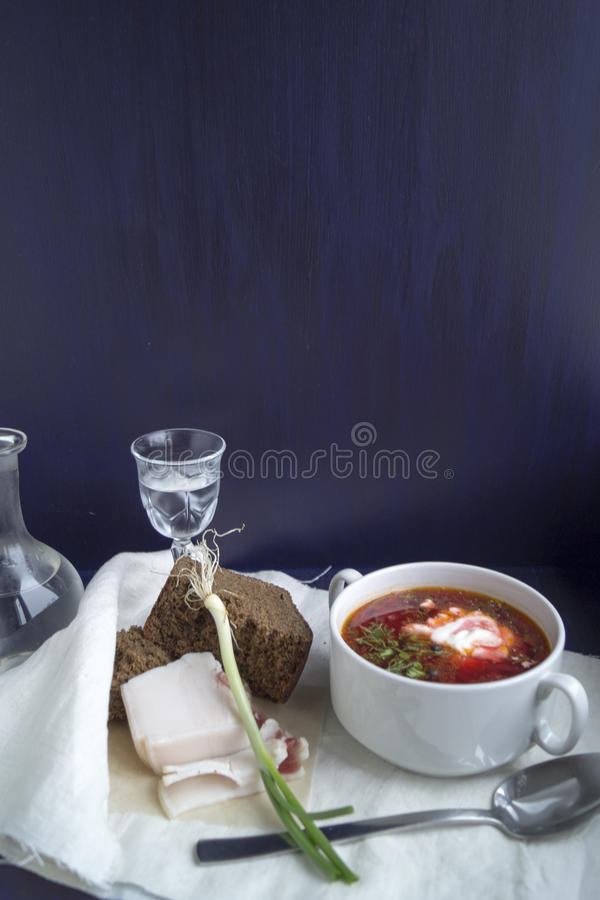 Sopa ucraniana do borscht foto de stock