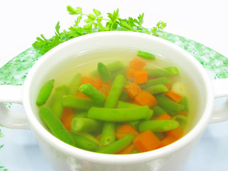 Sopa vegetal com feijão do haricot imagem de stock royalty free