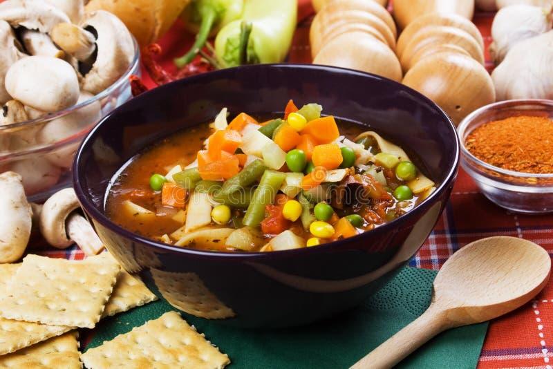 Sopa vegetal do Minestrone imagens de stock