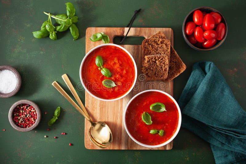 Sopa vegetariana de tomate y pimienta sobre fondo verde imagen de archivo