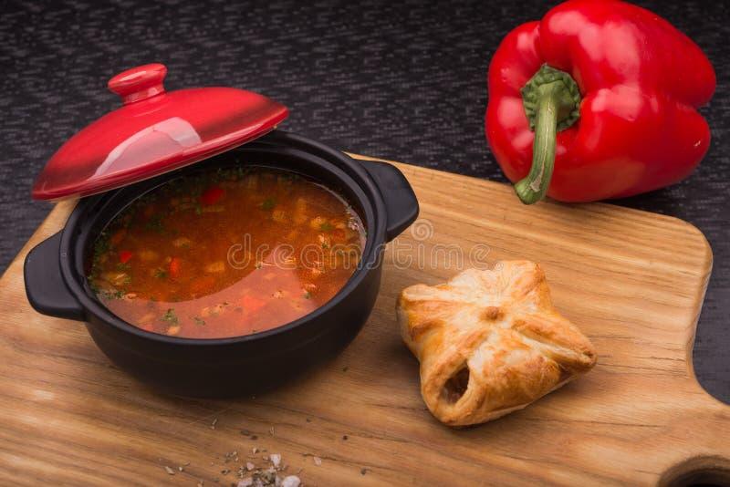 Sopa vermelha com pimenta imagens de stock