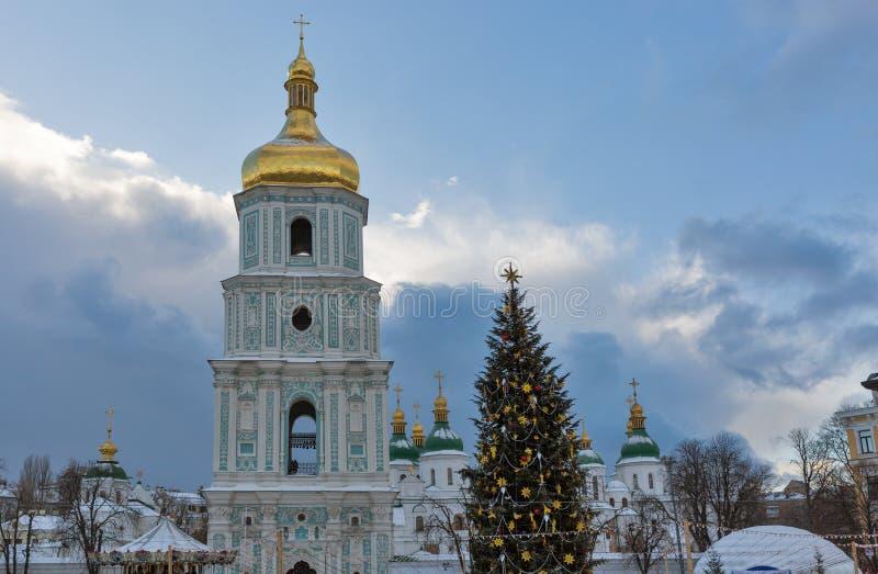 sophia Украина святой kiev собора время конца рождества предпосылки красное вверх стоковое изображение