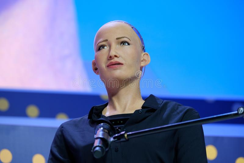 Sophia humanoid robot at Open Innovations Conference at Skolokovo technopark. Moscow, Russia - October 16, 2017: Sophia humanoid robot speaking Russian at Open stock photo