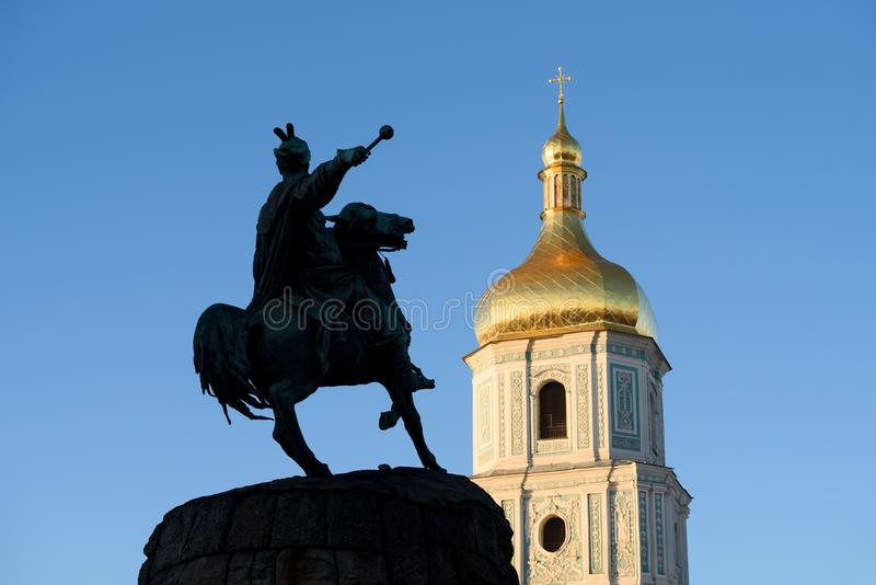 Sophia`s Cathedral and Bohdan Khmelnytsky Monument, Kyiv royalty free stock photography