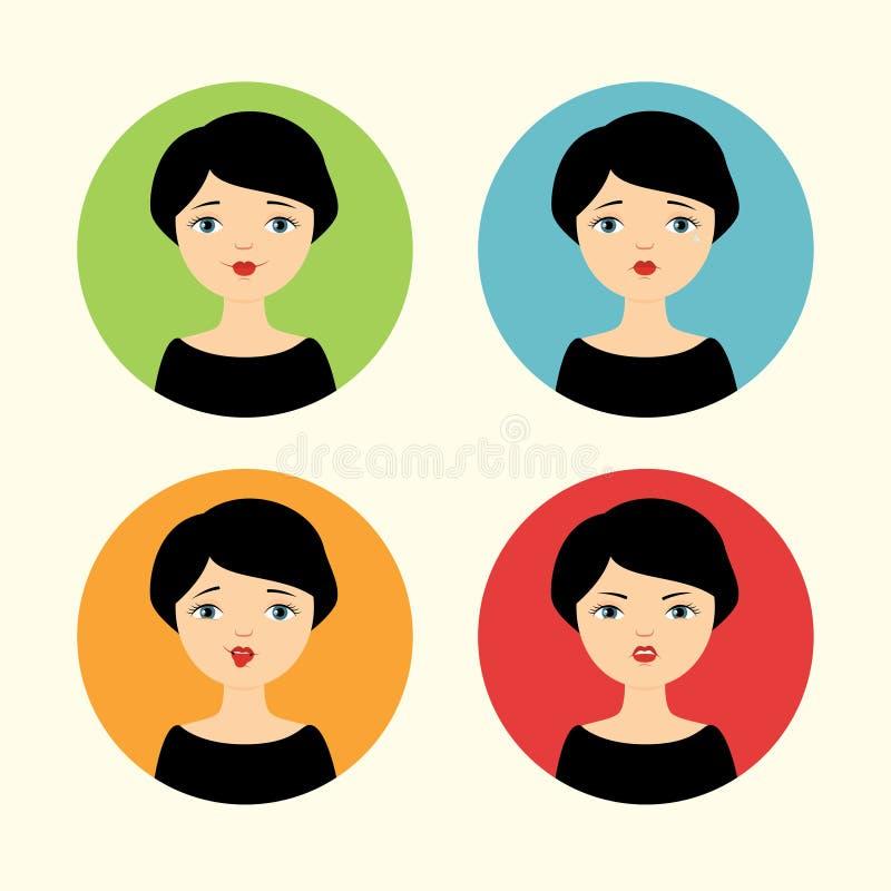Sophie quattro emozioni illustrazione di stock