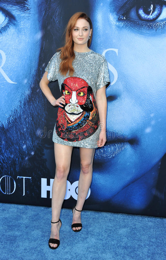 Sophie Turner. At the HBO`s `Game Of Thrones` Season 7 premiere held at the Walt Disney Concert Hall in Los Angeles, USA on July 12, 2017 stock photos