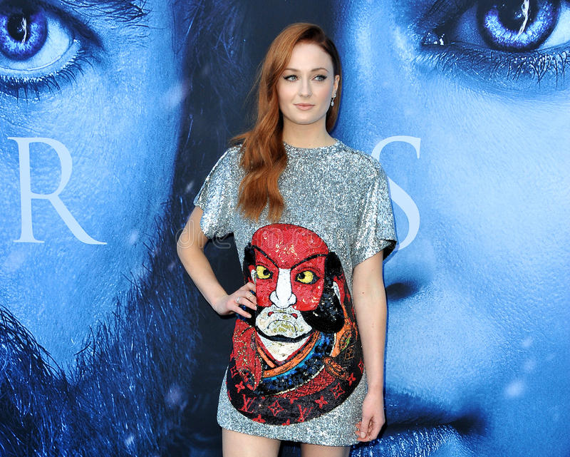 Sophie Turner. At the HBO`s `Game Of Thrones` Season 7 premiere held at the Walt Disney Concert Hall in Los Angeles, USA on July 12, 2017 stock images