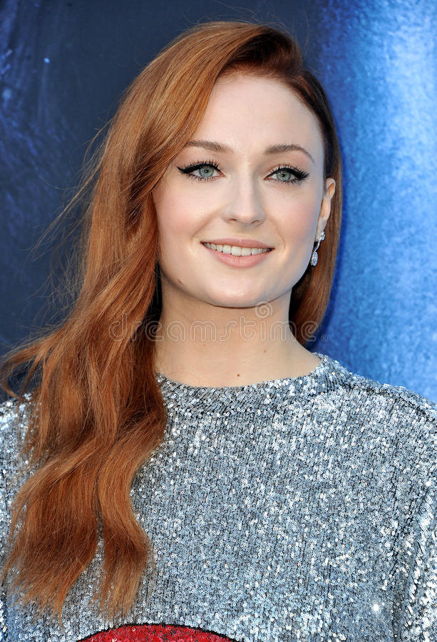 Sophie Turner. At the HBO`s `Game Of Thrones` Season 7 premiere held at the Walt Disney Concert Hall in Los Angeles, USA on July 12, 2017 royalty free stock photo
