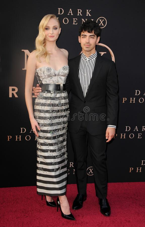 Sophie Turner and Joe Jonas. At the Los Angeles premiere of `Dark Phoenix` held at the TCL Chinese Theatre in Hollywood, USA on June 4, 2019 royalty free stock photography