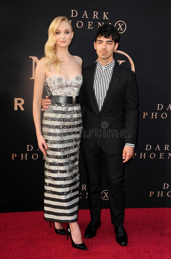 Sophie Turner and Joe Jonas. At the Los Angeles premiere of `Dark Phoenix` held at the TCL Chinese Theatre in Hollywood, USA on June 4, 2019 royalty free stock image