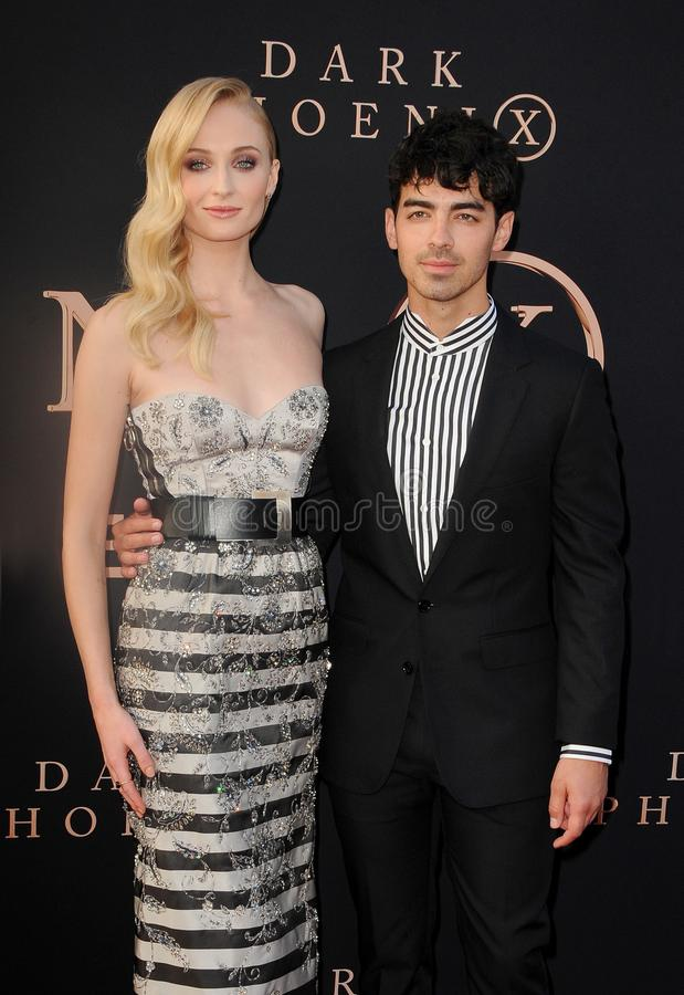 Sophie Turner and Joe Jonas. At the Los Angeles premiere of `Dark Phoenix` held at the TCL Chinese Theatre in Hollywood, USA on June 4, 2019 stock photo
